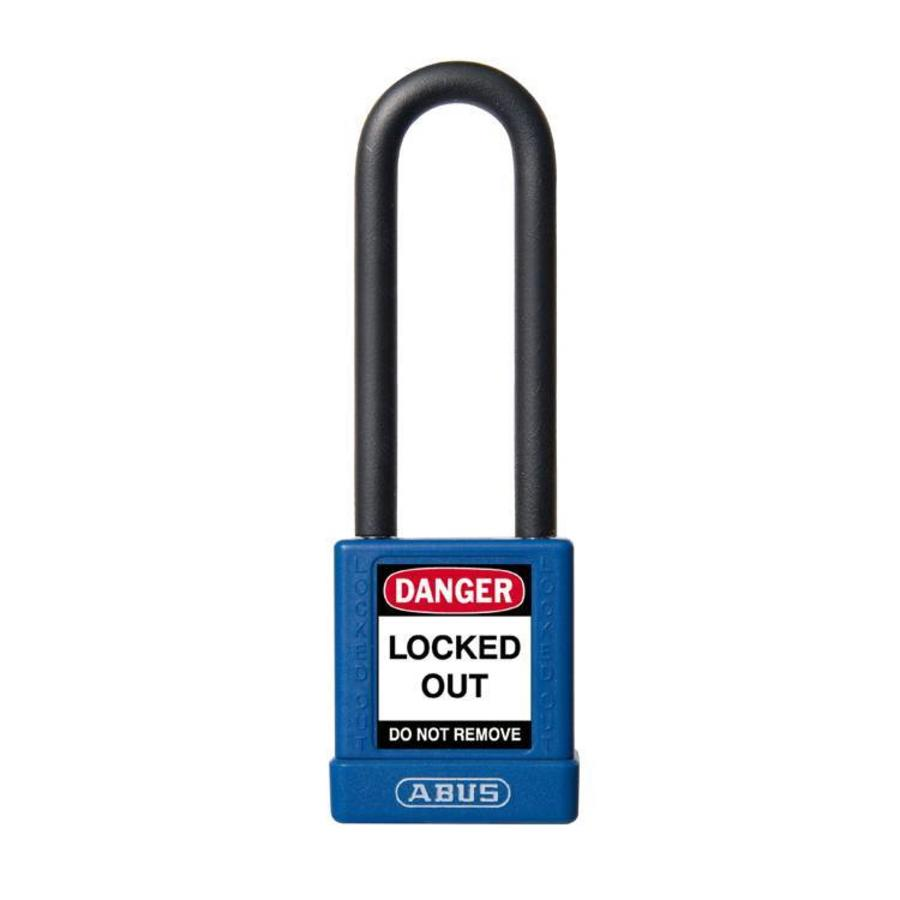 Aluminum safety padlock with blue cover 59117