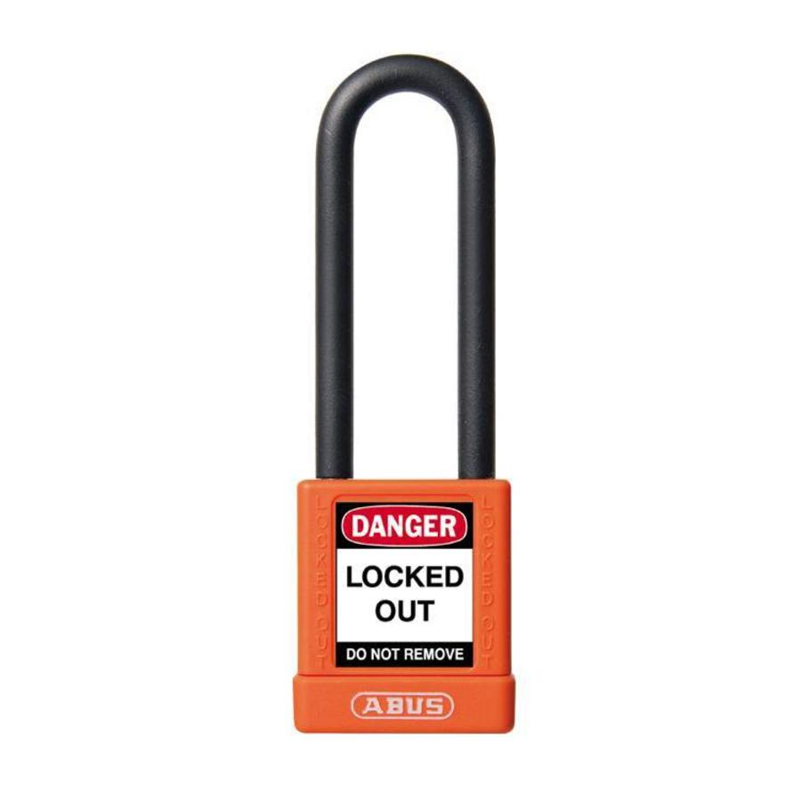 Aluminum safety padlock with orange cover 58985
