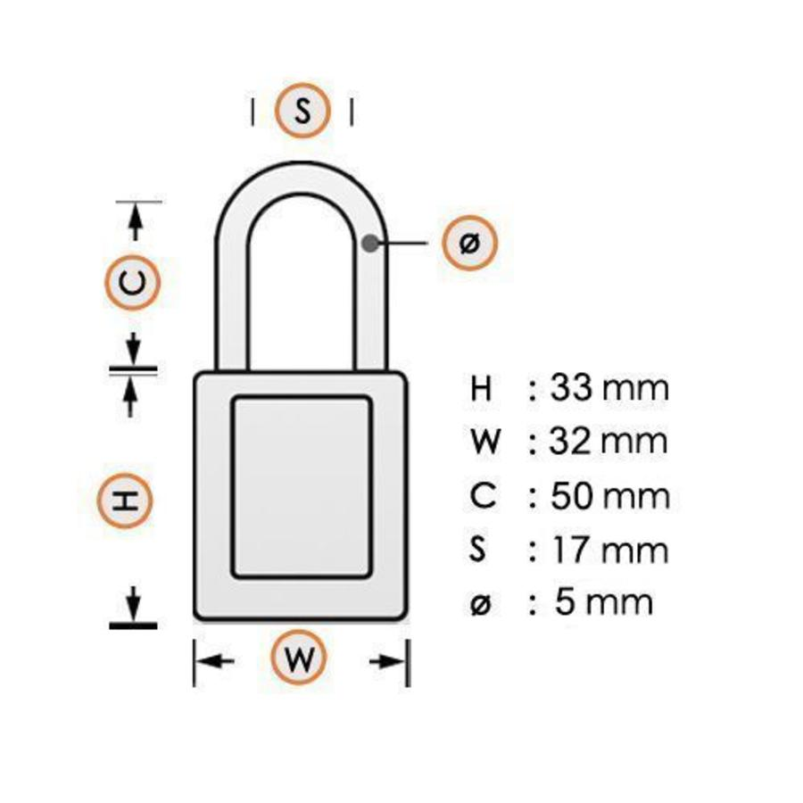 Anodized aluminium safety padlock yellow 72/30HB50 GELB