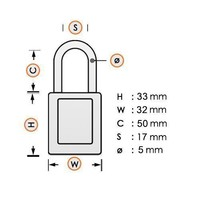 Anodized aluminium safety padlock orange 72IB/30HB50 ORANGE