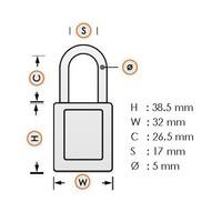 Anodized aluminium safety padlock purple 72/30 LILA