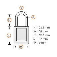 Anodized aluminium safety padlock orange 72/30 ORANGE