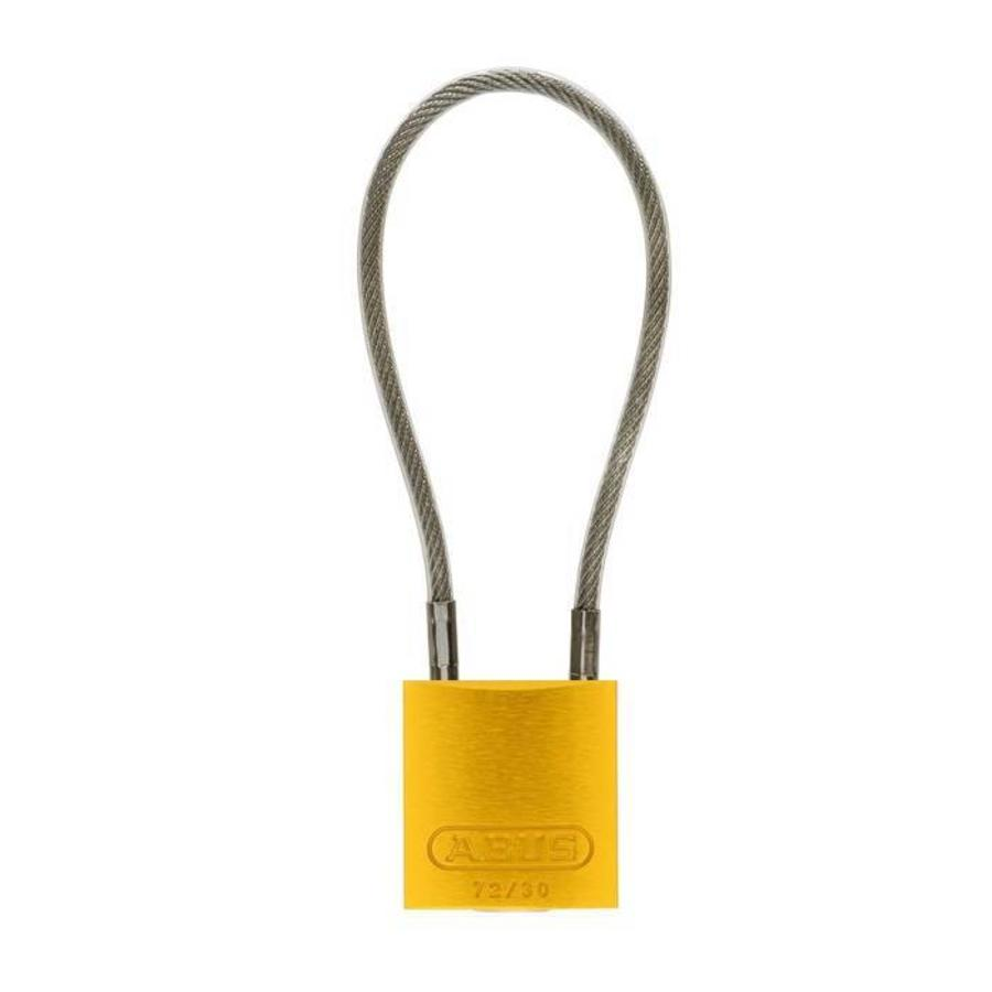 Anodized aluminium safety padlock yellow  with cable 72/30CAB GELB