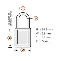 Anodized aluminium safety padlock purple  with cable 72/30CAB LILA
