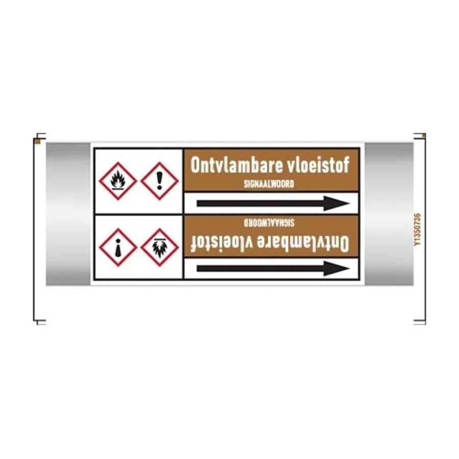 Pipe markers: Benzaldehyde | Dutch | Flammable liquids