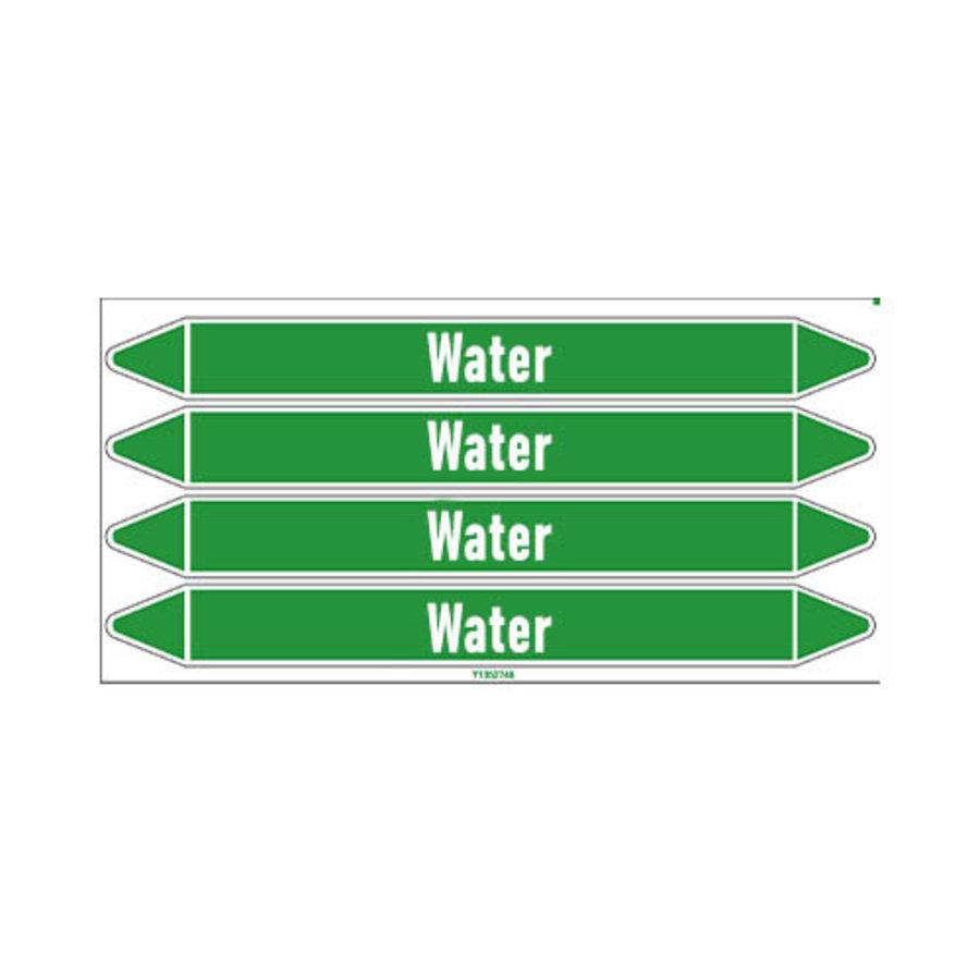 Pipe markers: Sanitair warm water | Dutch | Water