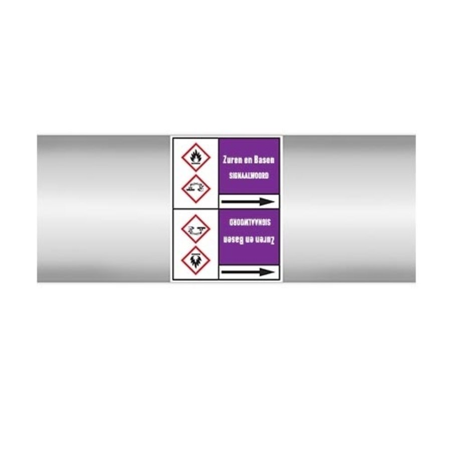 Pipe markers: Zoutzuur | Dutch | Acids and Alkalis