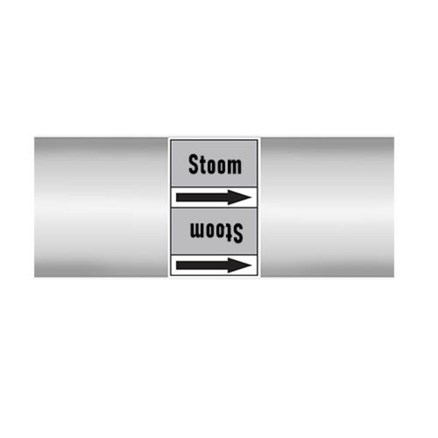 Pipe markers: stoom 1,5 bar | Dutch | Steam