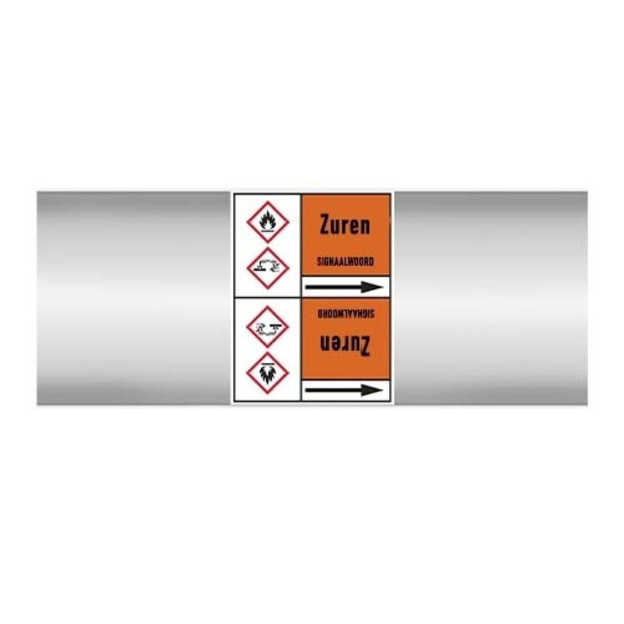 Pipe markers: Zwavelzuur 10% | Dutch | Acids