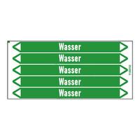 Pipe markers: Heißwasserheizung Rücklauf | German | Water