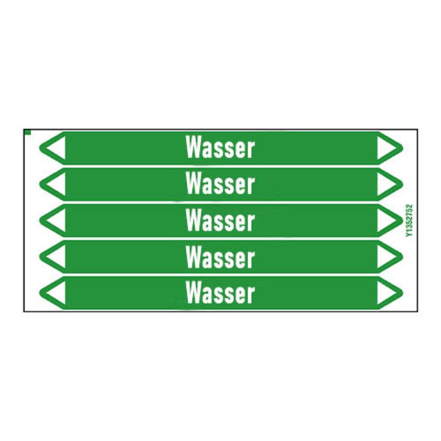 Pipe markers: Wasser Vorlauf | German | Water