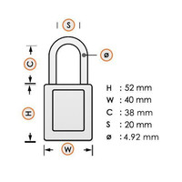 Aluminum safety padlock with green cover 84809