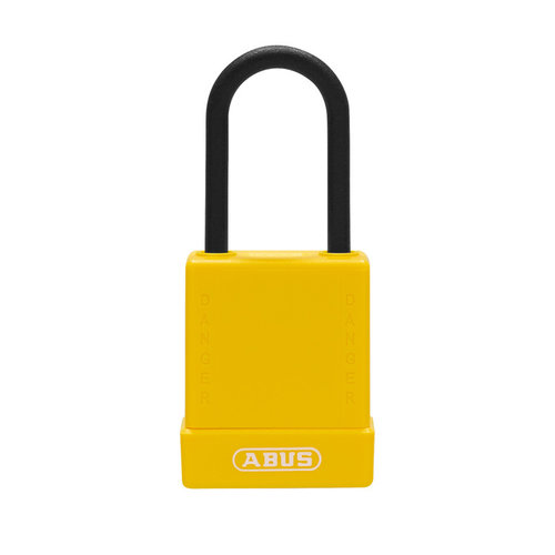 Aluminum safety padlock with yellow cover 76PS/40 yellow