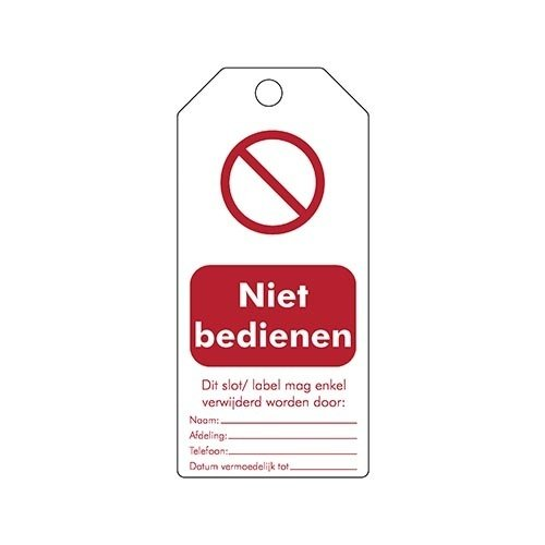 "Rewritable Safety tags Dutch ""Niet bedienen"" 307668"