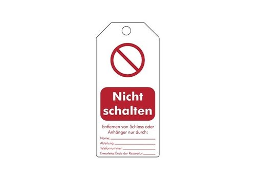 "Rewritable Safety tags German ""Nicht schalten"" 307666"