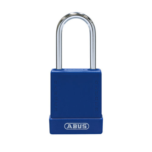 Aluminum safety padlock with red cover 76BS/40 blue