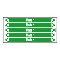 Pipe markers: Heating supply | English | Water