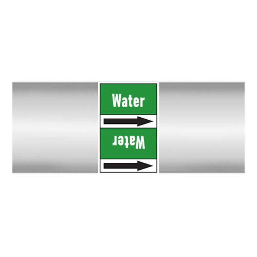 Pipe markers: Heating water return | English | Water