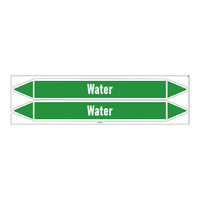 Pipe markers: Heating water supply | English | Water