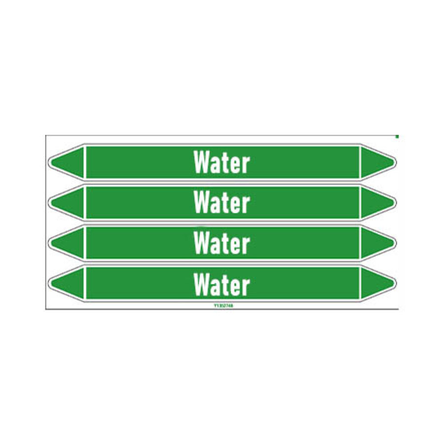 Pipe markers: Primary hot water | English | Water