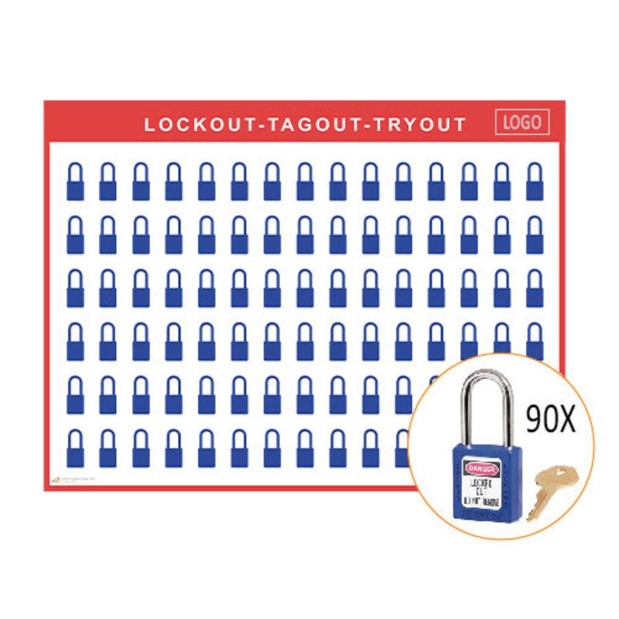 Lockout shadow board incl. Master Lock 410  Safety padlocks
