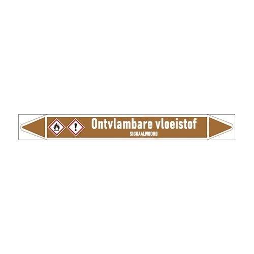 Pipe markers: Zuurstof | Dutch | Flammable liquids