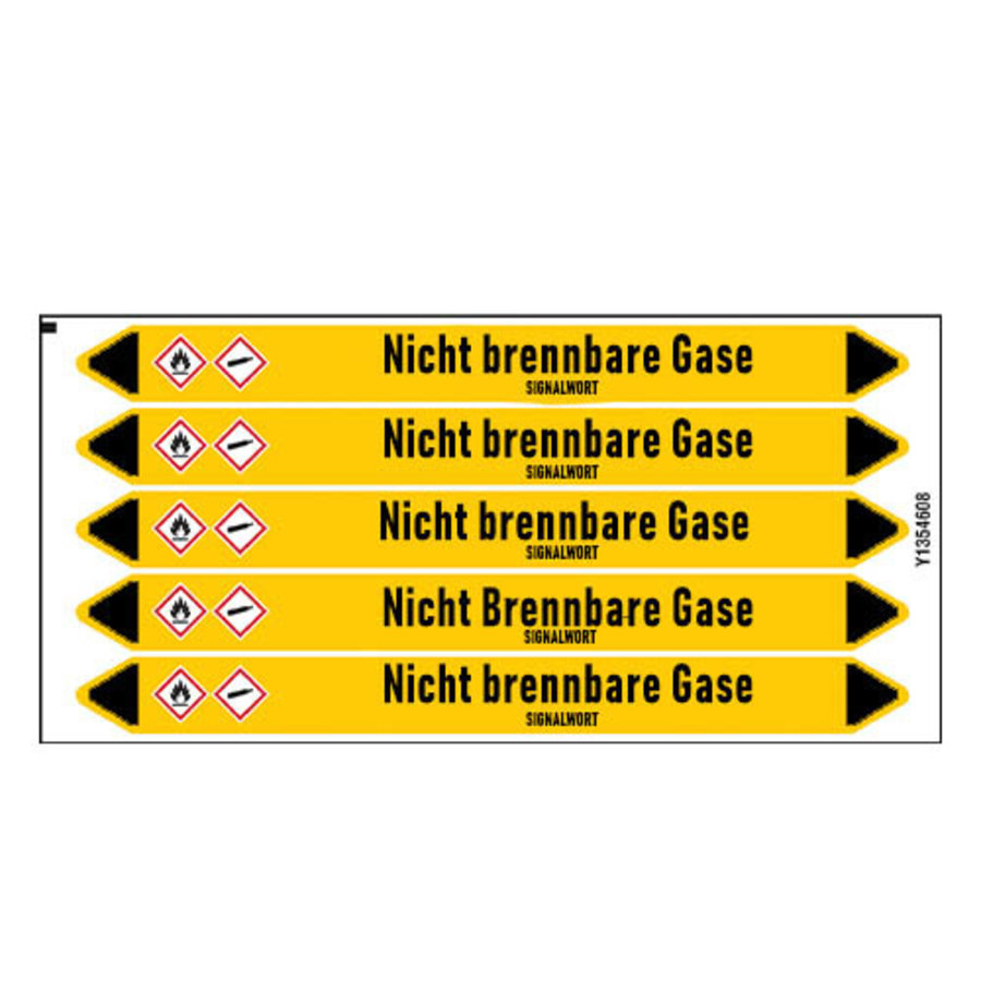 Pipe markers: Chlor   German   Non-flammable gas