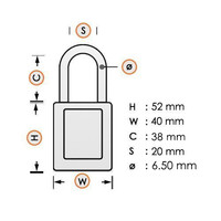 Aluminum safety padlock with white cover 84774