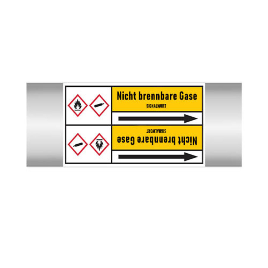 Pipe markers: CO2 | German | Non-flammable gas