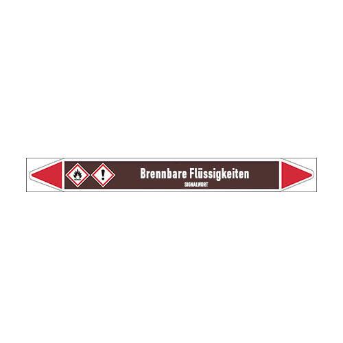 Pipe markers: Benzaldehyd | German | Flammable Liquids