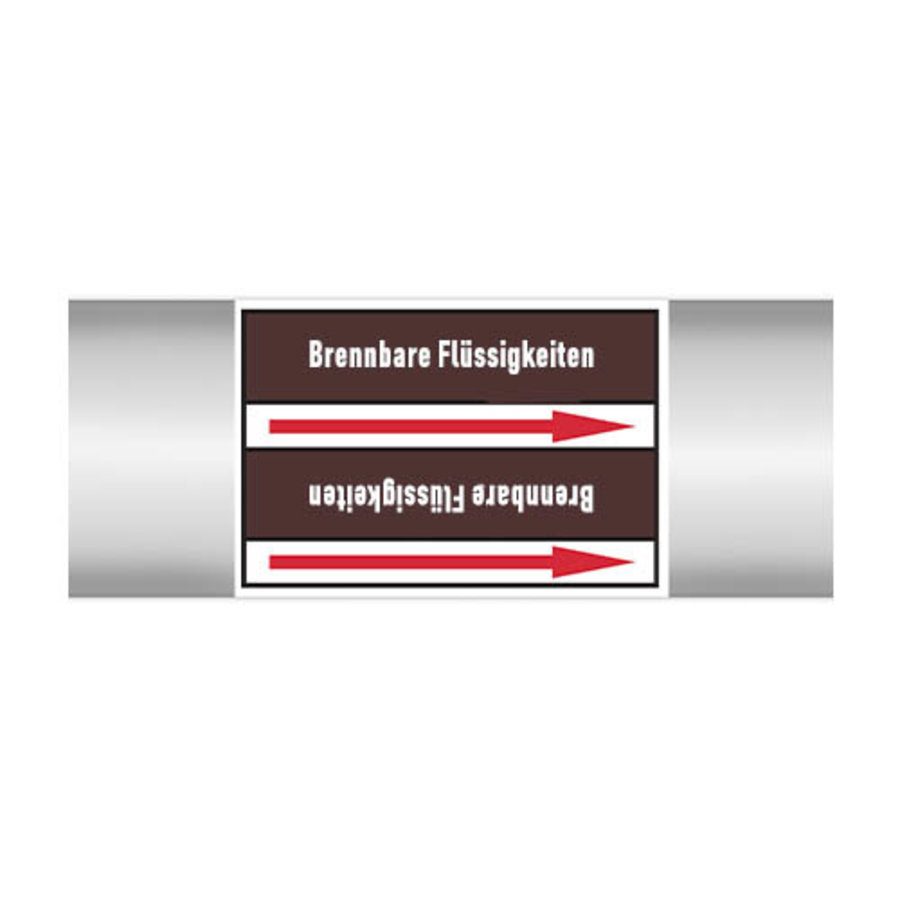 Pipe markers: Benzin bleifrei   German   Flammable Liquids