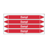 Pipe markers: Dampf 0,5 bar | German | Steam