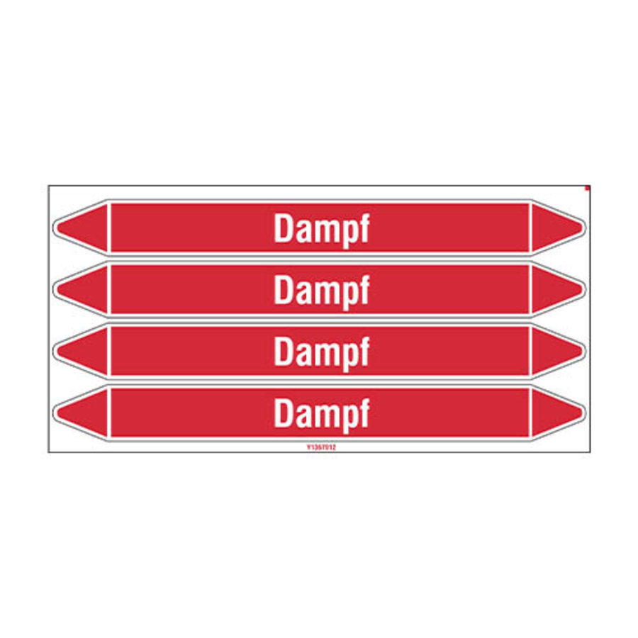 Pipe markers: Dampf 4 bar   German   Steam