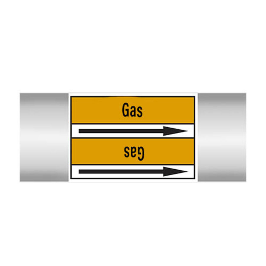 Pipe markers: Fluorine | English | Gas