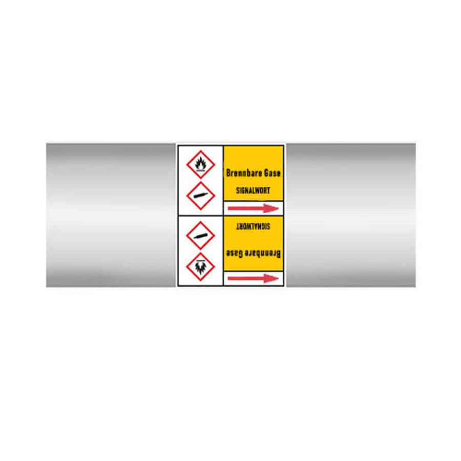 Pipe markers: Ammoniakgas | German | Flammable gas