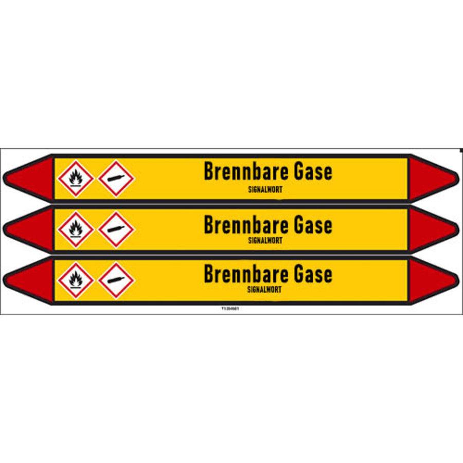 Pipe markers: Dimethylamin   German   Flammable gas
