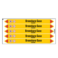 Pipe markers: Erdgas MD | German | Flammable gas