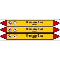 Pipe markers: Fluor | German | Flammable gas