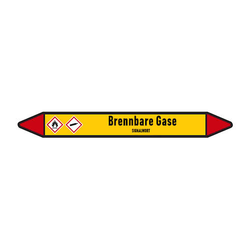 Pipe markers: H2   German   Flammable gas