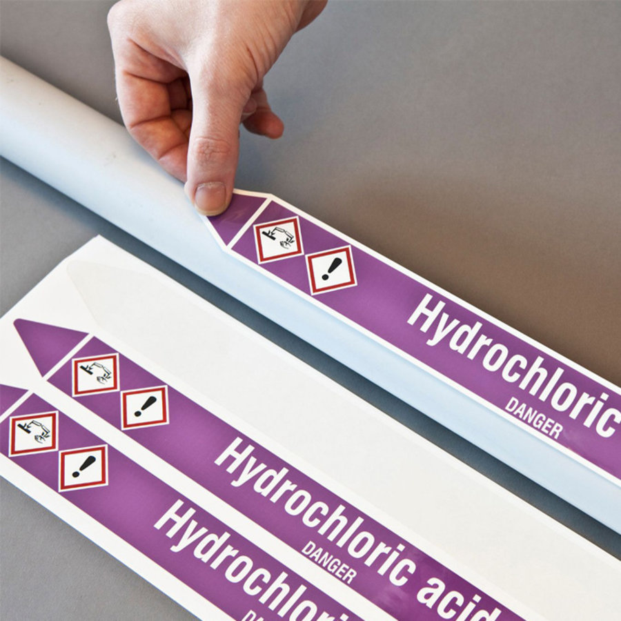 Pipe markers: H2S   German   Flammable gas