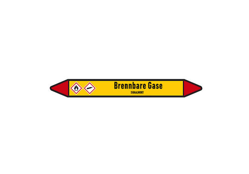 Pipe markers: Wasserstoff Gas | German | Flammable gas