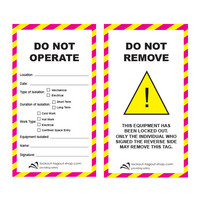 Safety Tag DO NOT OPERATE Laminated cardboard