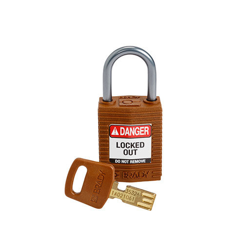 SafeKey Compact nylon safety padlock aluminium shackle brown 152162