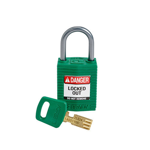 SafeKey Compact nylon safety padlock aluminium shackle green 152157