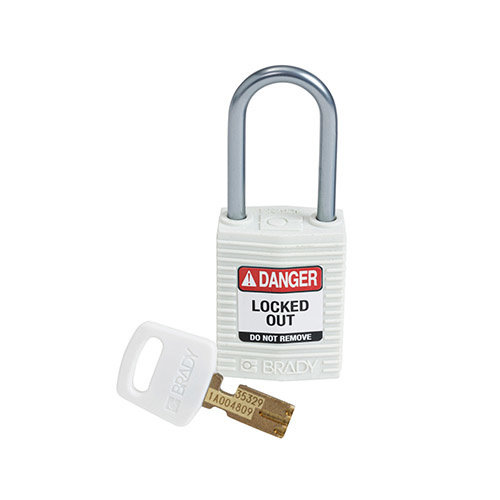 SafeKey Compact nylon safety padlock aluminium shackle white 151663