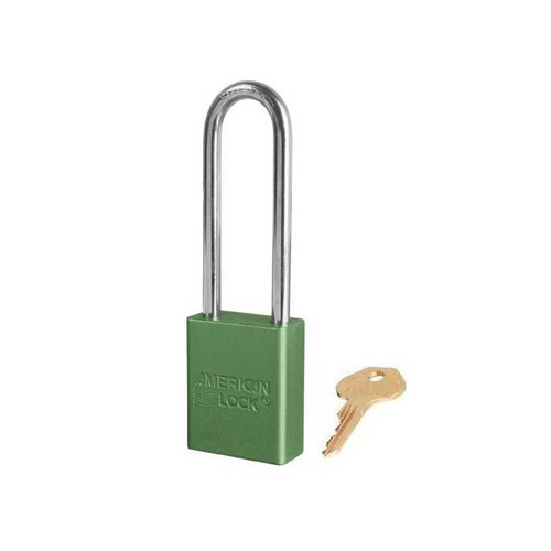 Anodized aluminium safety padlock green S1107GRN