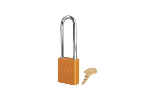 Anodized aluminium safety padlock orange S1107ORJ