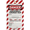 Two-part perforated tags ''EQUIPMENT LOCKED OUT'' 105370