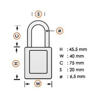 Aluminum safety padlock with composite cover orange 834479
