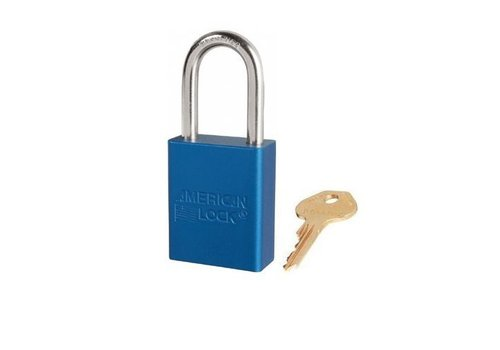 Anodized aluminium safety padlock blue S1106BLU